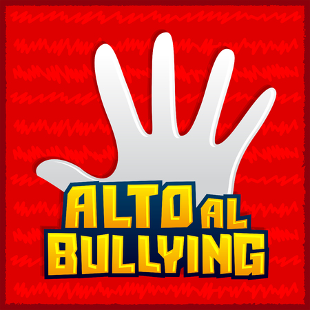 Alto al Bullying - Stop Bullying spanish text, vector icon illustration