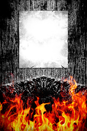 hellish: Creepy dark background and fire with poster ready for your text