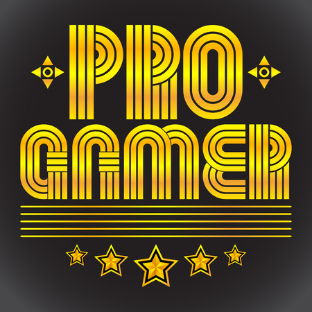 tittle: Pro Gamer, professional videogamer vector seal lettering - eighties video games style