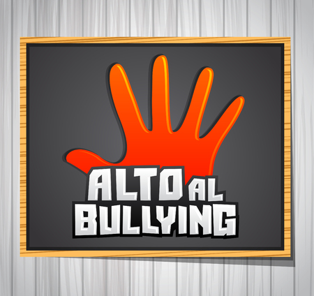 admitted: Alto al Bullying - Stop Bullying spanish text, vector icon illustration on a chalkboard