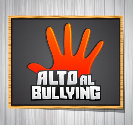 bulling: Alto al Bullying - Stop Bullying texto español, ilustración vectorial icono en una pizarra