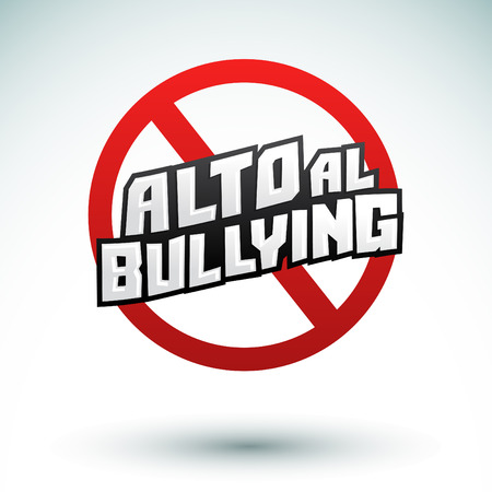 admitted: Alto al Bullying - Stop Bullying spanish text, vector icon illustration Illustration