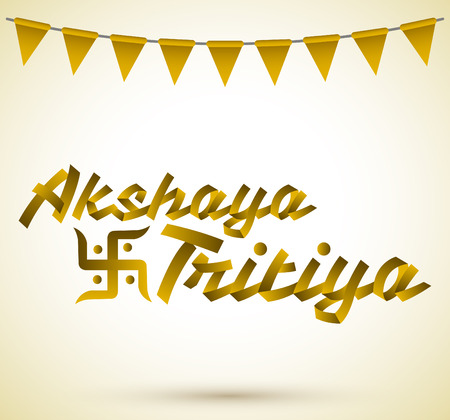 kalasha: Akshay Tritiya - Traditional India celebration - Golden ribbon Vector Lettering