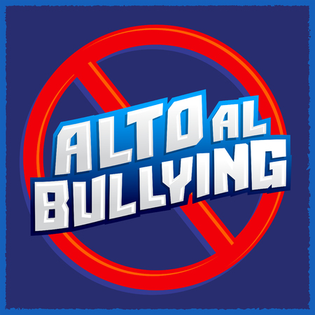 Alto al Bullying - Stop Bullying spanish text, vector icon illustration Ilustracja