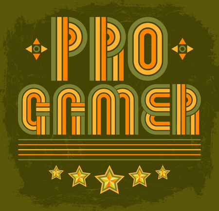 computer clubs: Pro Gamer, professional video gamer vector seal lettering - eighties video games style Illustration