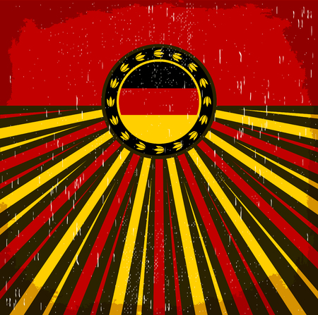 Germany vintage old poster with German flag colors - vector design, Germany holiday decoration Stok Fotoğraf - 56815906