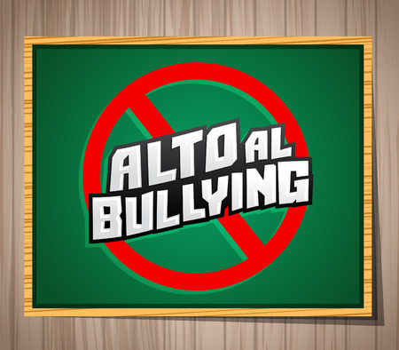 cyber girl: Alto al Bullying - Stop Bullying spanish text, vector icon illustration on a chalkboard