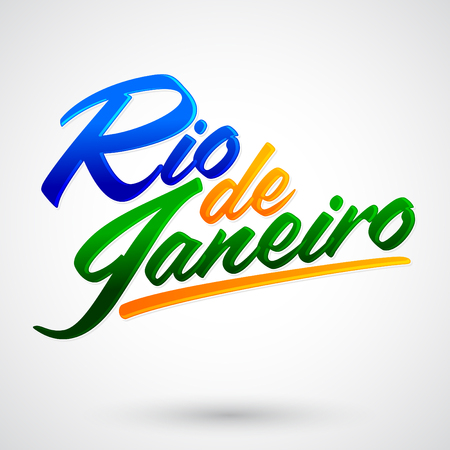 Rio de Janeiro vector lettering design with brazilian flag colors Ilustrace