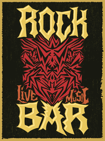 punk rock: Rock Bar Hardcore poster design template - Rock Pub vector poster