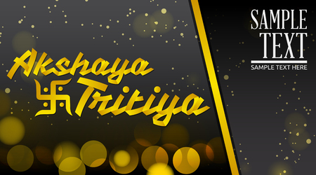 kalasha: Akshay Tritiya - Traditional India celebration - Golden ribbon Vector Lettering with black  background
