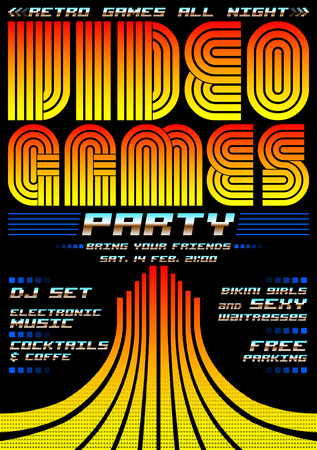 Video Games party - poster event template, eighties video games style 일러스트
