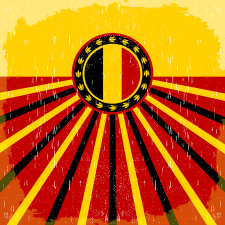 assumption: Belgium vintage old poster with Belgian flag colors - card design, Belgium holiday decoration