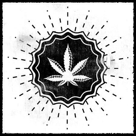 weeds: Ganjah emblem seal - monochrome sign, Ganjah it is a term used by Rastafarians to call marijuana Illustration
