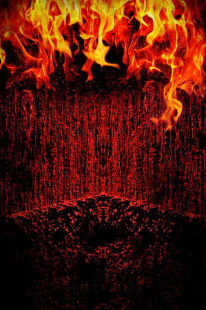 hellish: Creepy dark background with fire - grunge illustration Stock Photo