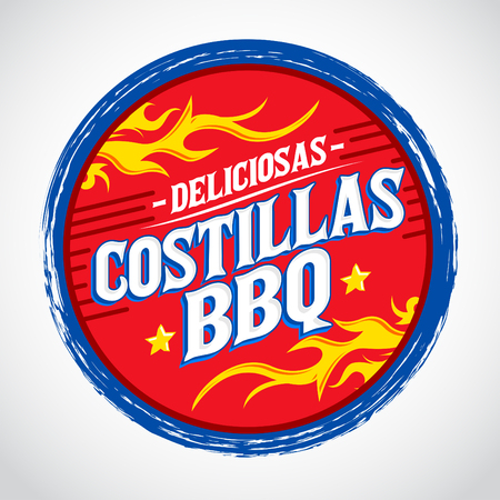 spanish food: Costillas BBQ Deliciosas - Delicious Barbecue Ribs spanish text, Grunge rubber stamp, fast food icon, emblem