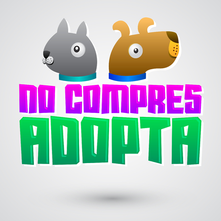 unloved: No compres Adopta - Dont Shop Adopt spanish text - adoption pet concept, emblem with dog and cat illustration
