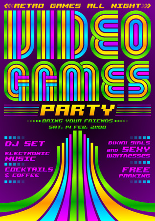 event party: Video Games party - poster event template, eighties video games style Illustration