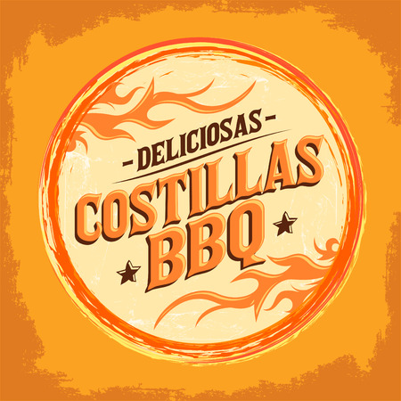 barbecue ribs: Deliciosas Costillas BBQ - Delicious BBQ Ribs spanish text, Grunge rubber stamp, fast food icon, emblem Illustration