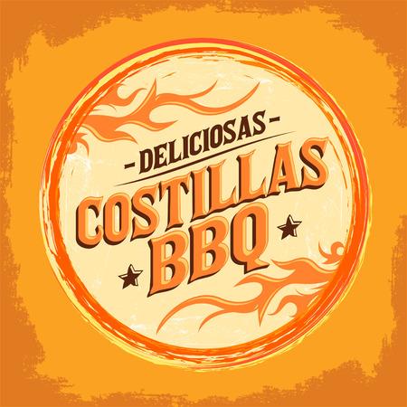 pork rib: Deliciosas Costillas BBQ - Delicious BBQ Ribs spanish text, Grunge rubber stamp, fast food icon, emblem Illustration