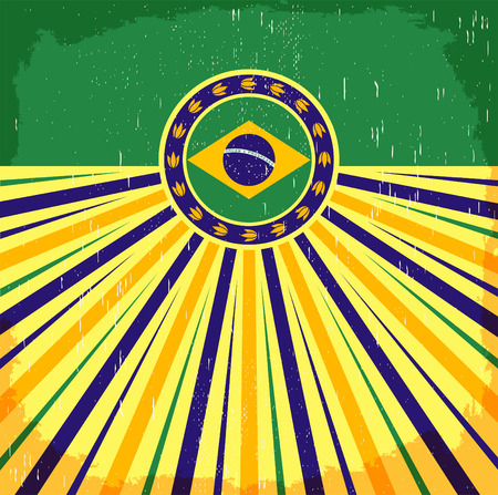 Brazil vintage patriotic poster - card design, brazilian holiday decoration