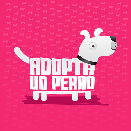 unloved: Adopta un Perro - Adopt a Dog, icon with dog shape, adoption concept.