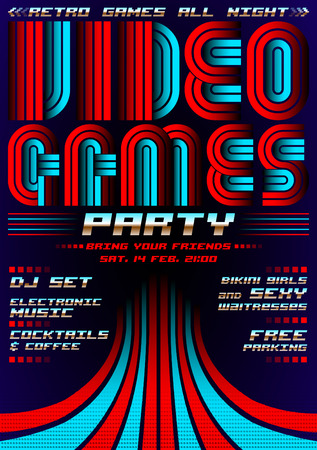 Video Games party - poster event template, eighties video games style 矢量图像