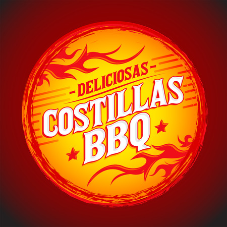 Deliciosas Costillas BBQ - Delicious BBQ Ribs spanish text, Grunge rubber stamp, fast food icon, emblem Ilustrace