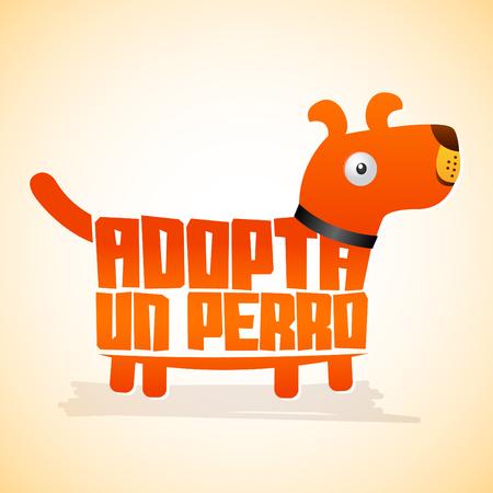 adopt: Adopta un Perro - Adopt a Dog, icon with dog shape, adoption concept.