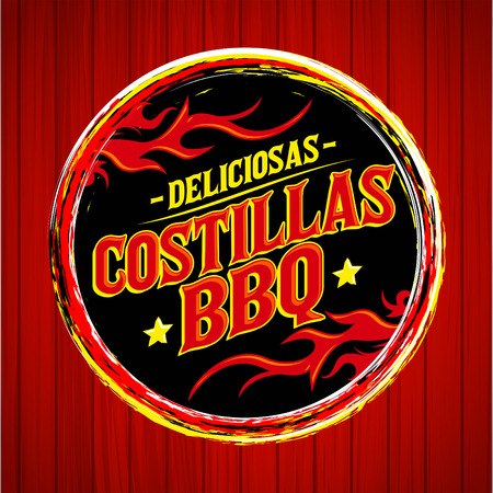 Deliciosas Costillas BBQ - Delicious BBQ Ribs spanish text, Grunge rubber stamp, fast food icon, emblem Ilustração