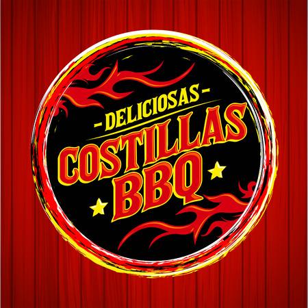 Deliciosas Costillas BBQ - Delicious BBQ Ribs spanish text, Grunge rubber stamp, fast food icon, emblem Illustration