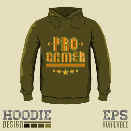 pro: Pro Gamer Vector Hoodie print design - sweatshirt template Illustration