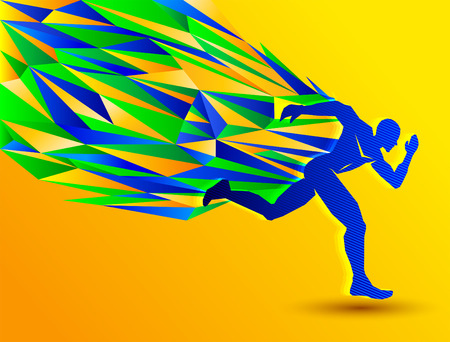 man abstract: Marathon Running man, abstract sport silhouette, athletics concept with brazil colors Illustration
