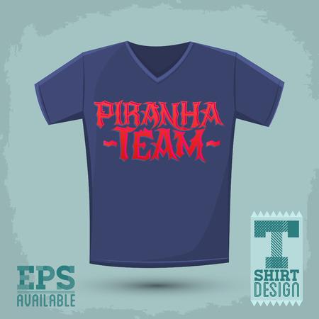 voracious: Piranha Team - vector emblem, shirt print template, silkscreen punk style vector lettering