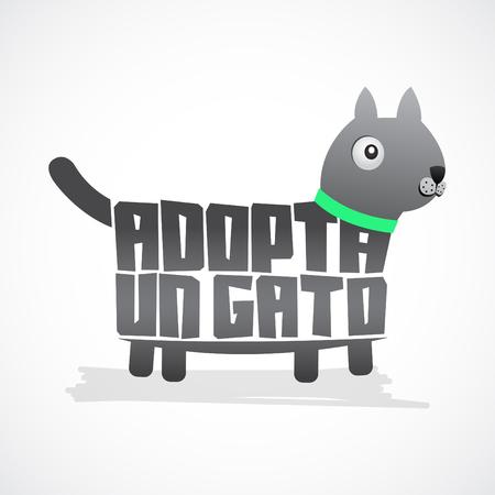 needy: Adopta un Gato - Adopt a Cat spanish text - Vector icon with cat shape, adoption concept.