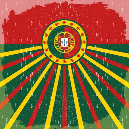Portugal vintage old poster with Portuguese flag colors - vector design, Portugal holiday decoration