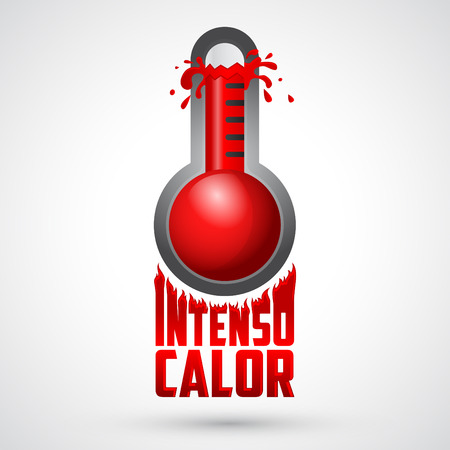 climatic: Intenso calor - intense heat spanish text, vector weather warning sign, exploding thermometer icon with flames