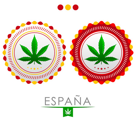 espana: Espana - Spain marijuana emblem - vector cannabis seal of approval with the colors of the flag of Spain