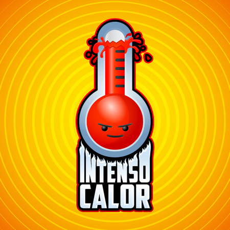 termometer: Intenso calor - intense heat spanish text, vector weather warning sign with evil cartoon face, exploding thermometer icon with flames