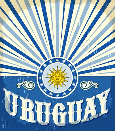 Uruguay vintage oude poster met Uruguayaanse vlag kleuren - vector ontwerp, Uruguay vakantie decoratie Stock Illustratie