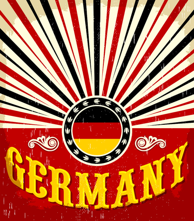 assumption: Germany vintage old poster with German flag colors - vector design, holiday decoration