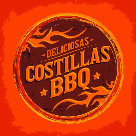 spanish food: Deliciosas Costillas BBQ - Delicious BBQ Ribs spanish text, Grunge rubber stamp, fast food icon, emblem Illustration
