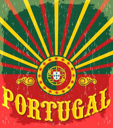 Portugal vintage oude poster met Portugese vlag kleuren - vector ontwerp, Portugal vakantie decoratie