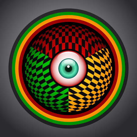 Rasta red eye icon with green, yellow and red colors, rastafarian colorful emblem. Ilustração