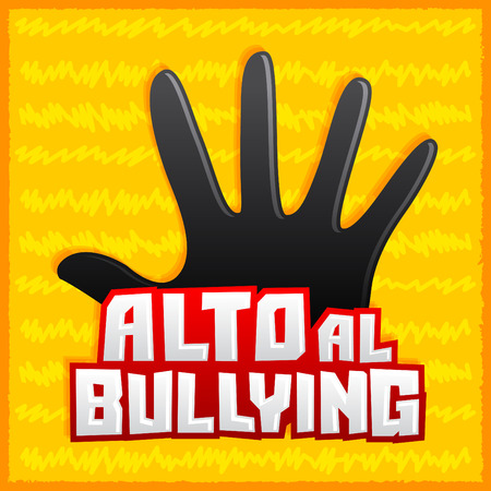bulling: Alto al Bullying - Stop Bullying spanish text, vector icon illustration Vectores