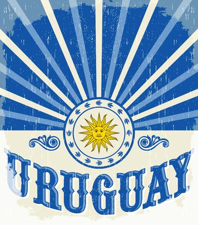bandera de uruguay: Uruguay cartel de época antigua, con colores de la bandera de Uruguay - diseño del vector, Uruguay decoración de vacaciones Vectores