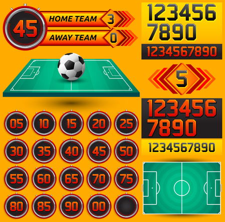 scoreboard timer: Football - Soccer scoreboard and timer, stopwatch to track the time in a football game, Broadcast Graphics template