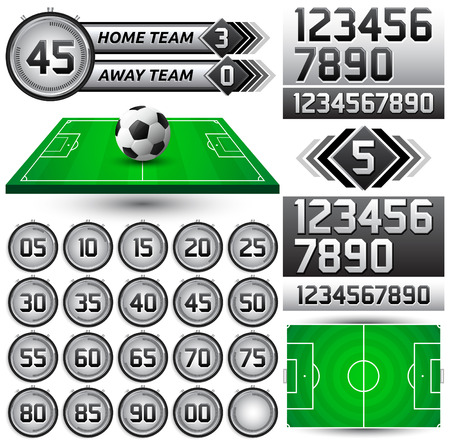 game time: Football - Soccer scoreboard and timer, stopwatch to track the time in a football game, Broadcast Graphics template