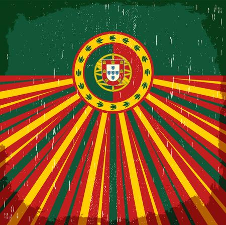 bandera de portugal: Portugal cartel viejo de la vendimia con los colores de la bandera portuguesa - diseño, decoración de vacaciones Portugal