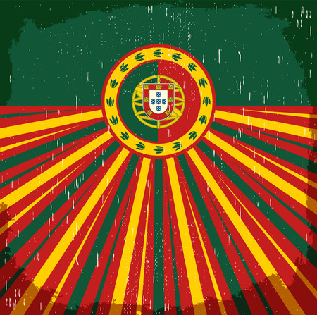 Portugal vintage old poster with Portuguese flag colors - design, Portugal holiday decoration
