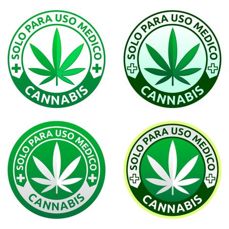 El cannabis, Solo PARA USO médico - Sólo para uso médico texto español, colección emblema de marihuana médica, icono de dispensario médico